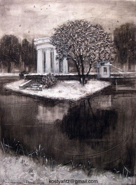 Kohlezeichnung, Natur, Mischtechnik auf papier, Zeichenkohle, Landschaft, Zeichnung