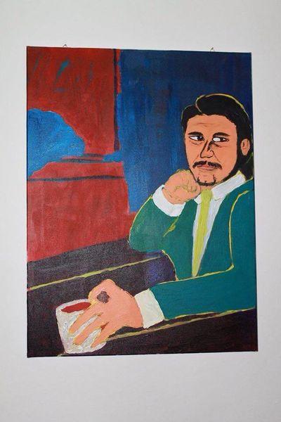 Expressionismus, Selbstportrait, Ausdruck, Mann, Acrylmalerei, Farben