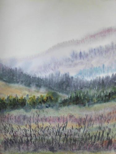 Hügel, Landschaft, Atmosphäre, Stimmung, Aquarell
