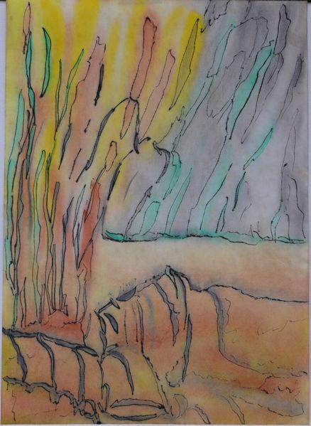 Fantasie, Mischtechnik, Aquarellmalerei, Abstrakt, Tuschmalerei, Unterwelt