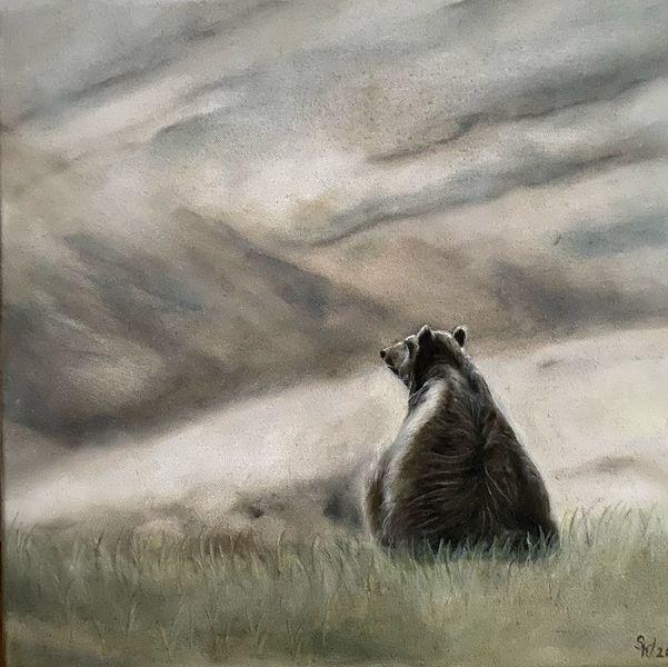 Natur, Wildtiere, Bär, Landschaft, Malerei, Tiere