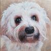 Dame, Hund, Weiß, Malerei