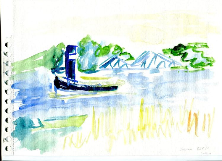 Potsdam, Havel, Glienicker brücke, Aquarell