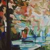 Laub, Fluss, Baum, Malerei