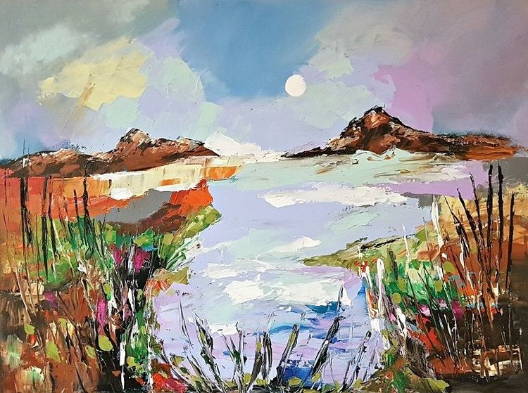 Moderne malerei, Acrylmalerei, Spachteltechik, Zeitgenössische malerei, Landschaft, Abstrakte malerei