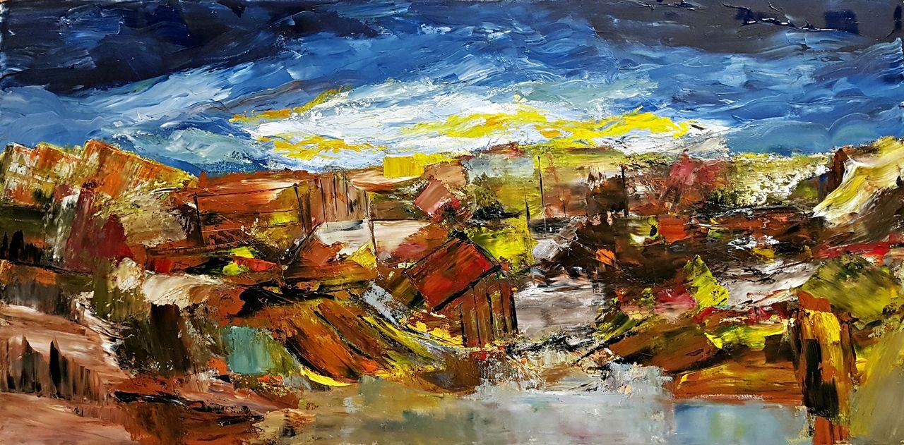 Bild Landschaft Moderne Malerei Gemälde Spachteltechnik Von