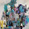 Spachteltechnik, Zeitgenössische malerei, Blau, Moderne malerei