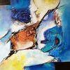 Zeitgenössische malerei, Gelb, Abstrakte kunst, Gemälde abstrakt
