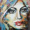 Moderne malerei, Gemälde abstrakt, Gesicht, Portrait
