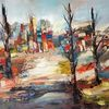 Zeitgenössische malerei, Spachteltechnik, Gemälde abstrakt, Landschaft