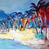 Strand, Zeitgenössische kunst, Palmen, Zeitgenössische malerei