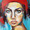 Zeitgenössische malerei, Moderne malerei, Frau, Portrait