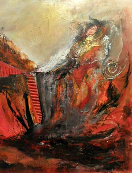Collage, Rot schwarz, Silber, Moderne malerei, Moderne kunst, Struktur