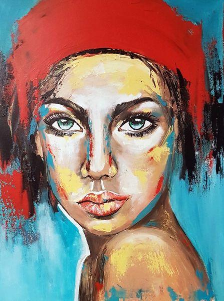 Acrylmalerei, Gesicht, Zeitgenössische malerei, Moderne malerei, Frau, Portrait