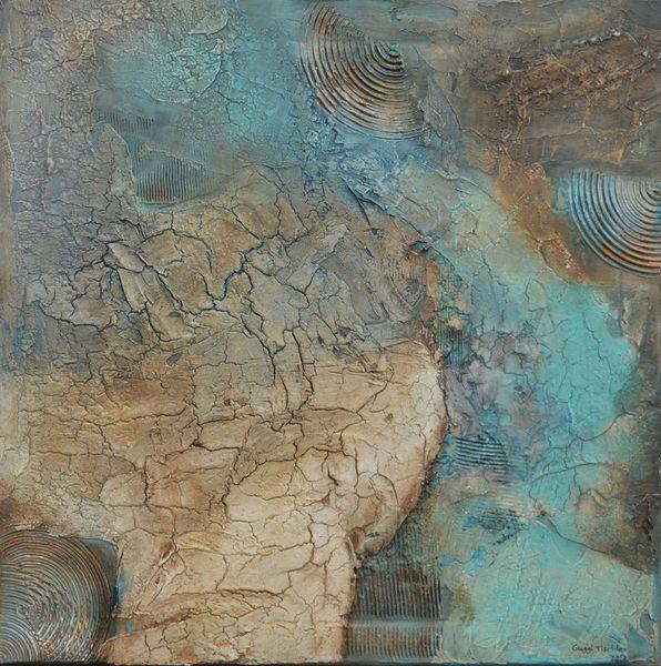 Bilder eigene, Marmormehl, Abstrakt, Acrylmalerei, Struktur, Türkis
