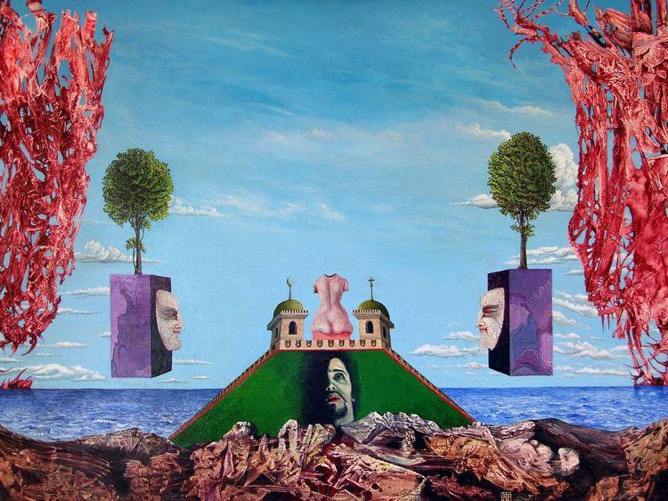 Visionär, Fantasie, Selbstportrait, Acrylmalerei, Mystik, Malerei