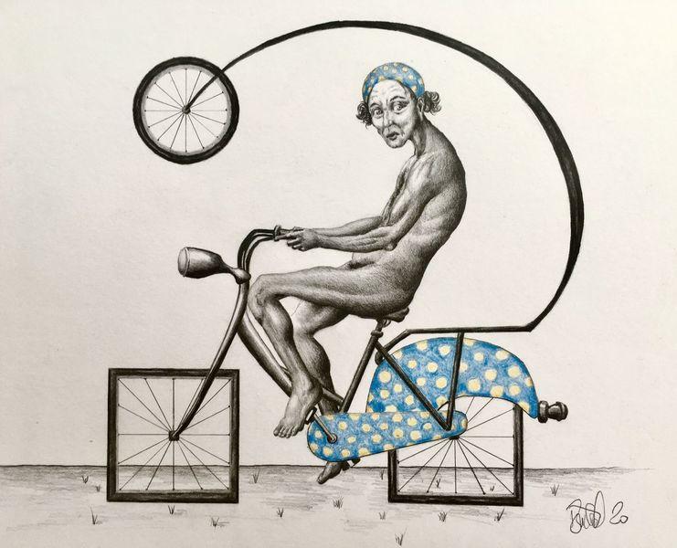 Zeichnung, Mann, Rad, Blaues stirnband, Wissenschaft, Zeichnungen