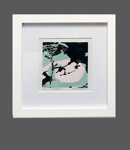 Abstrakt, Kleines format, Rosé, Farbholzschnitt, Rosa, Druckgrafik