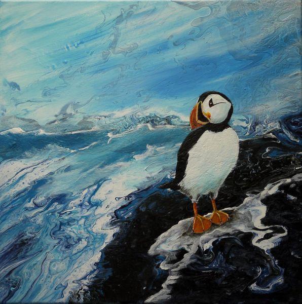 Vogel, Tiere, Blau, Papageitaucher, Malerei