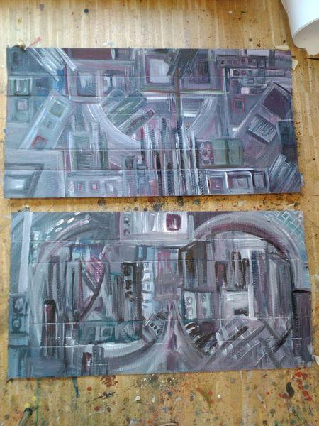 Stadtimpression, Ausdruck, Stadt, Malerei, Acrylmalerei, Karton