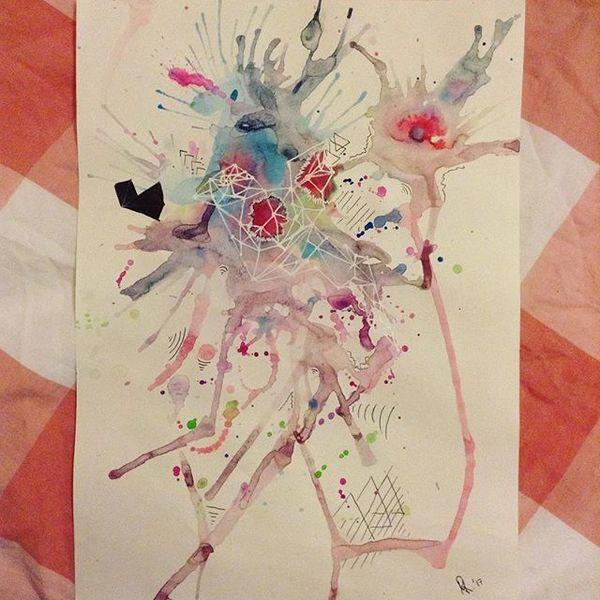 Farben, Abstrakt, Blau, Vogel, Pink, Malerei