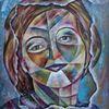 Bunt, Kopf, Portrait, Kubismus