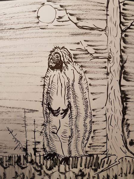Tuschepinsel, Mond, Figur, Gras, Tusche, Wald