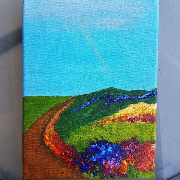 Morgen, Acrylmalerei, Wiese, Grün, Blau, Landschaft