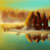 See, Spiegelung, Wald, Grün