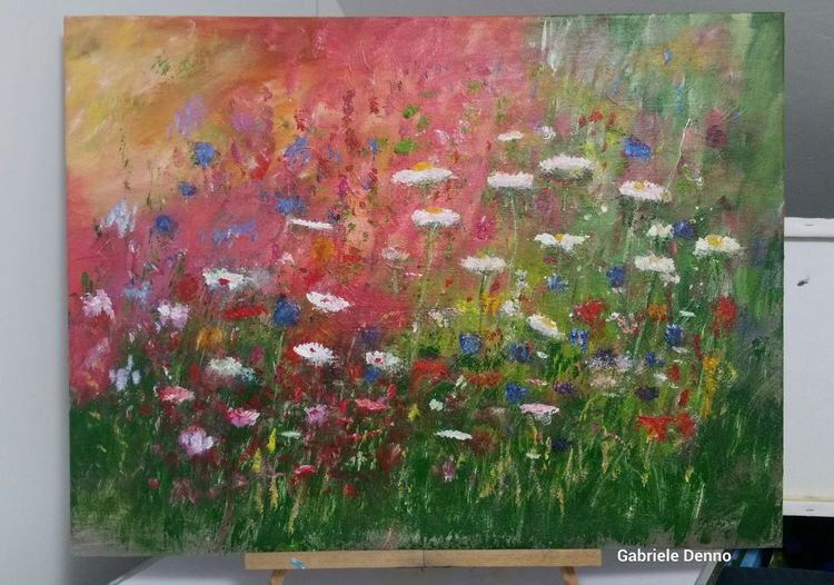 Kunstwerk, Feld, Wiese, Landschaft, Malen, Gemälde