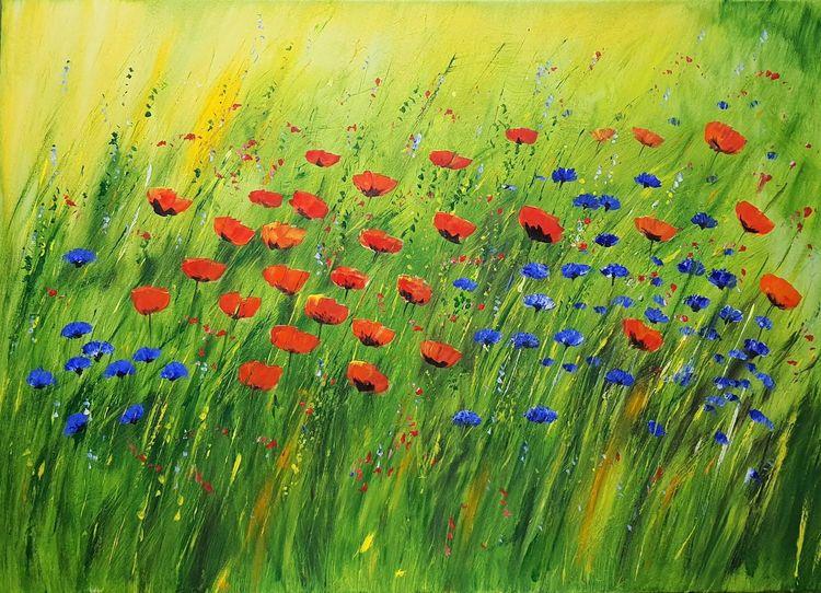 Kornblumen, Blumen, Kornfelder, Nachhaltigkeit, Impressionismus, Mohnblumen