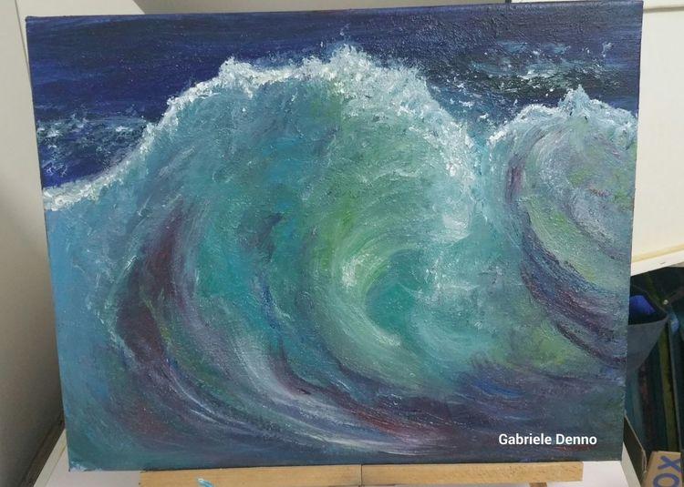 Landschaft, Welle, Wellenreiten, Malerei, Meer, Kunstwerk