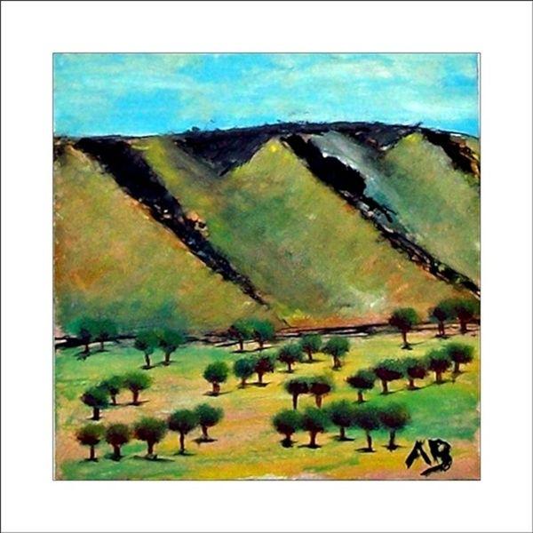 Weinland, Baum, Feld, Kalifornien, Busch, Gemälde