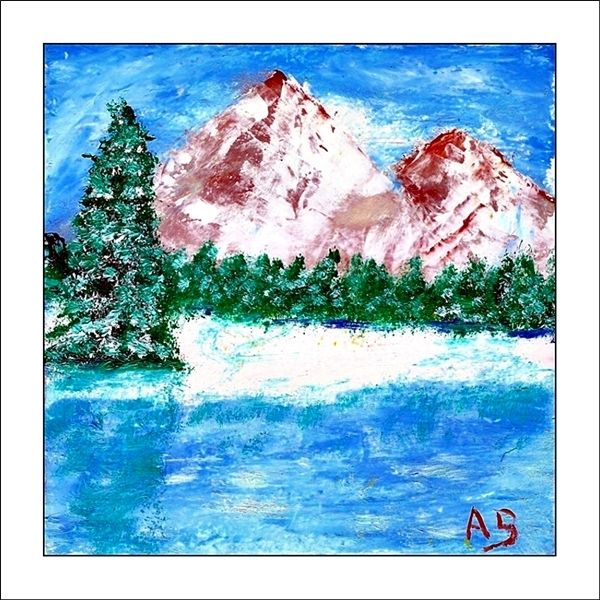 Ölmalerei, Spachteltechnik, Wald, Schnee, See, Moderne malerei