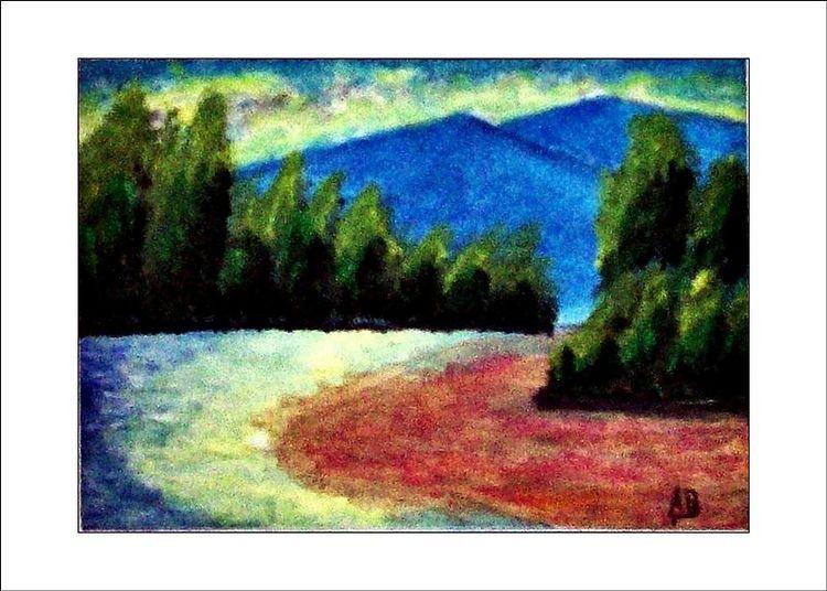 Wald, Tanne, Sand, Landschaftsmalerei, Fluss, Kiefer