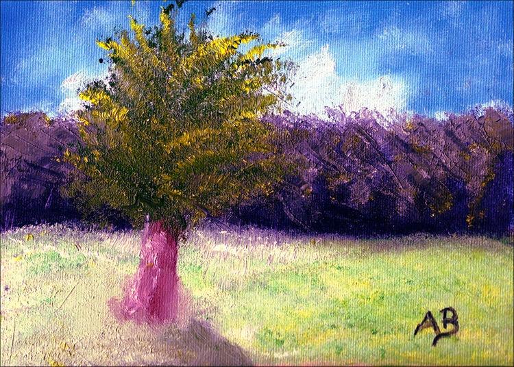 Sommer, Ölmalerei, Feld, Himmel, Wolken, Wald