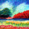 Sommer, Ölmalerei, Baum, Wiese
