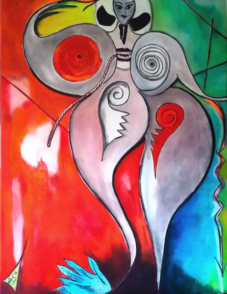 Ölmalerei, Rot, Universum, Schamanin, Acrylmalerei, Frau