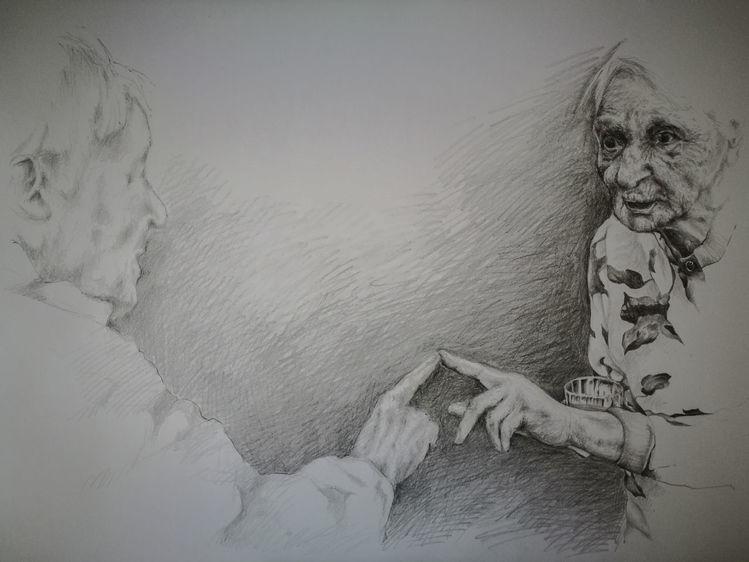 Menschen, Demenz, Alte frau, Bleistiftzeichnung, Zeichnung, Zeichnungen