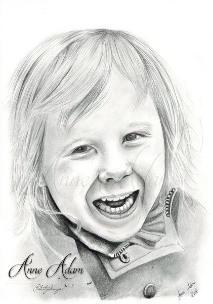 Bleistiftzeichnung, Kind, Mädchen, Tochter, Grafit, Portrait