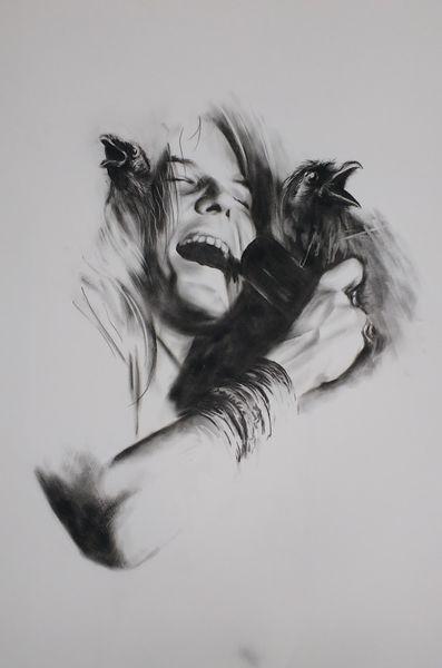 Augen, Rocksängerin mensch, Schwarz weiß, Portrait, Janis joplin, Kohlezeichnung