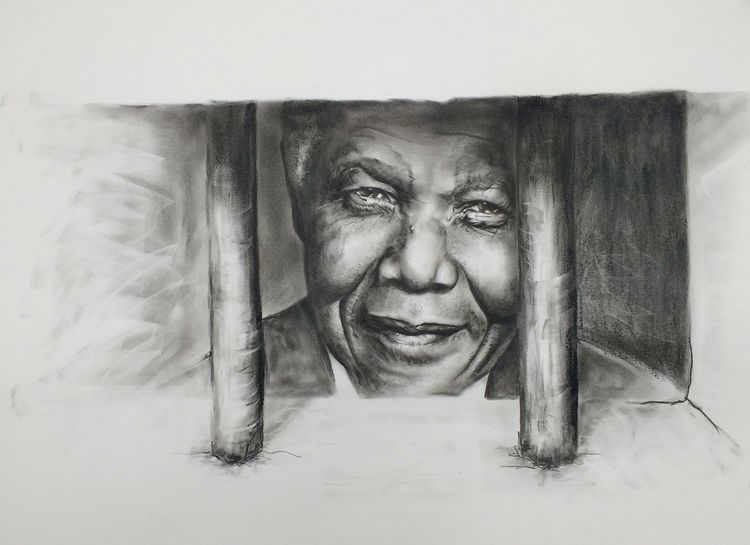 Portrait, Schwarz weiß, Kohlezeichnung, Gegner der apartheit, Präsident von südafrika, Menschen