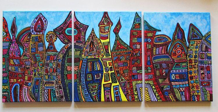 Stadt, Zeitgenössisch, Malerei, Moderne kunst, Bunt, Acrylmalerei