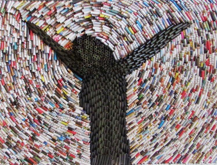 Zeitungspapier, Altpapier, Modern, Recycling, Zeitgenössisch, Mischtechnik