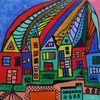 Moderne kunst, Bunt, Acrylmalerei, Zeitgenössisch