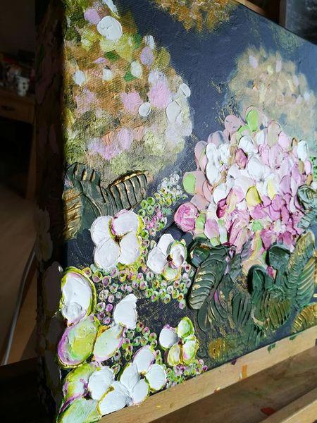 Lila, Gold, Hortensien, Pink, Spachteltechnik, Moderne kunst