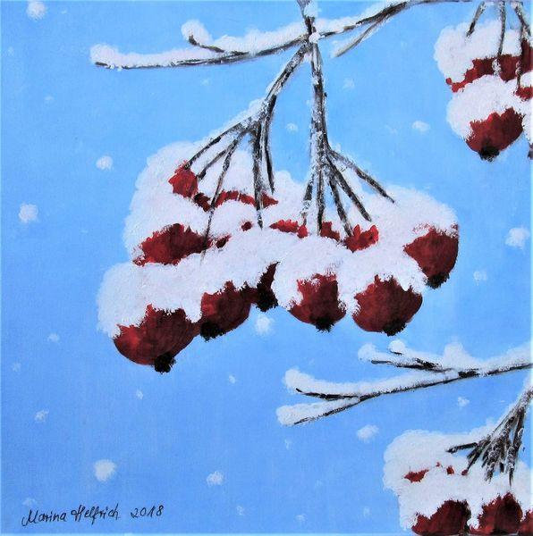 Winter, Schnee, Beere, Malerei