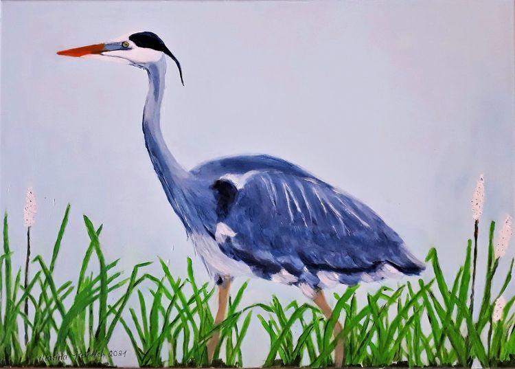 Graureiher, Grey heron, Tiere, Reiher, Malerei