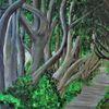 Allee, Baum, Natur, Malerei