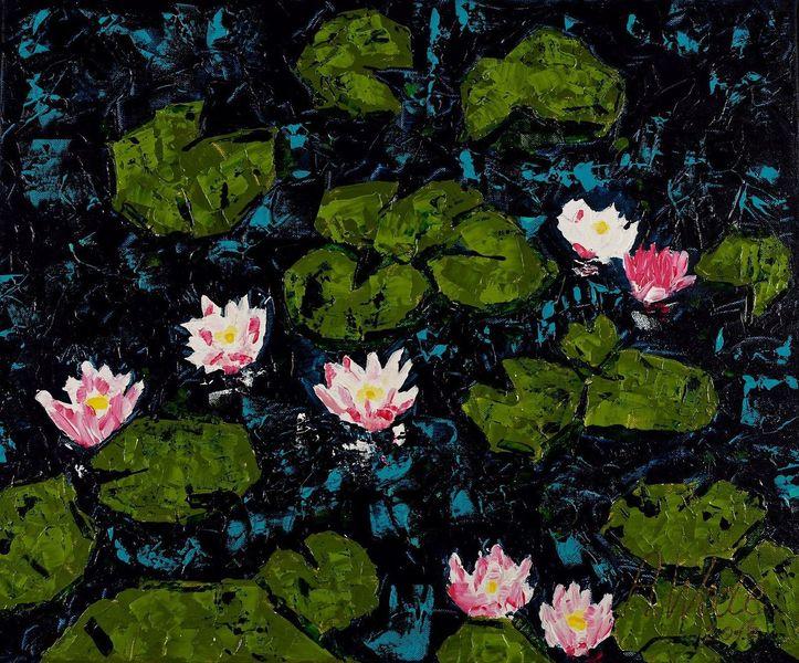 Seerosen, Wasserlilie, Wasser, Blumen, Malerei